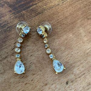Faux Diamond Gold tear drop earrings